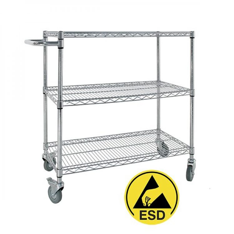 Antistatic ESD Chrome Trolley - Image