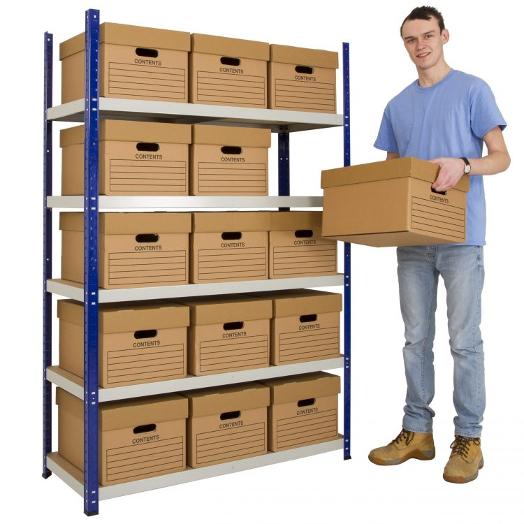 Metal Shelving with Boxes - Image