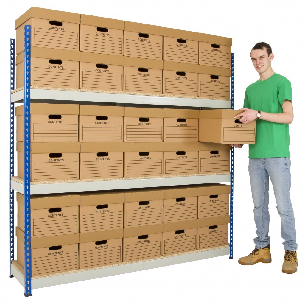 Archive Storage Shelving with 24 Boxes