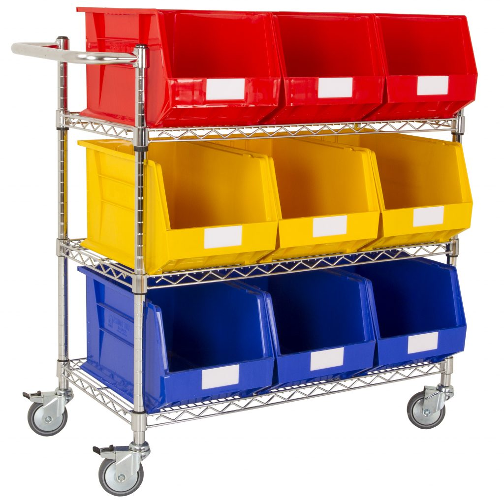 Chrome Picking Trolley with Wide Bins