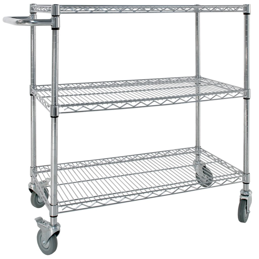 Chrome Wire Shelving Trolley with Wheels