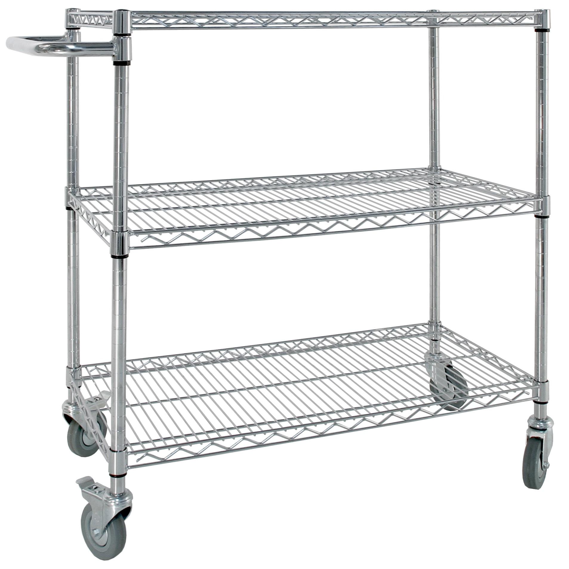 Chrome Shelf Trolley with Wheels   20 Tier   LLM Handling
