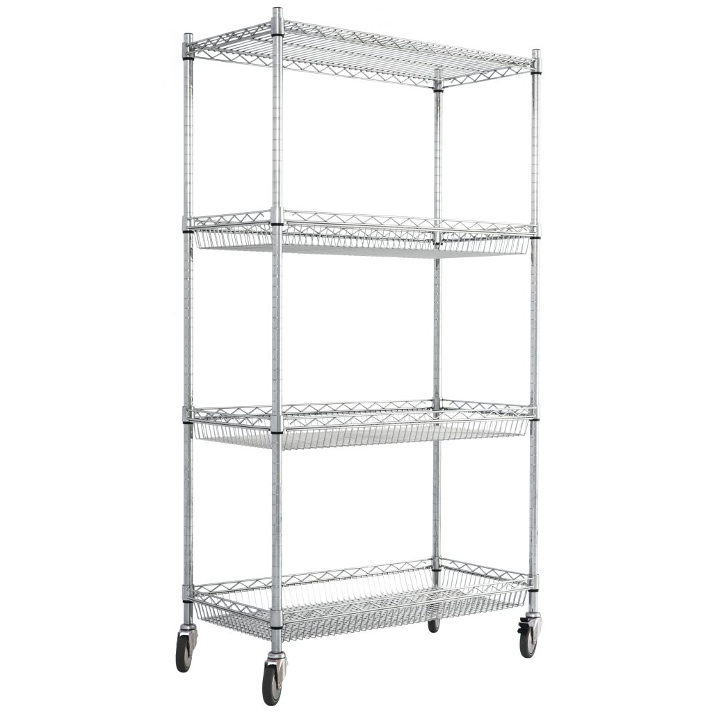Chrome Wire Basket Shelving with Wheels