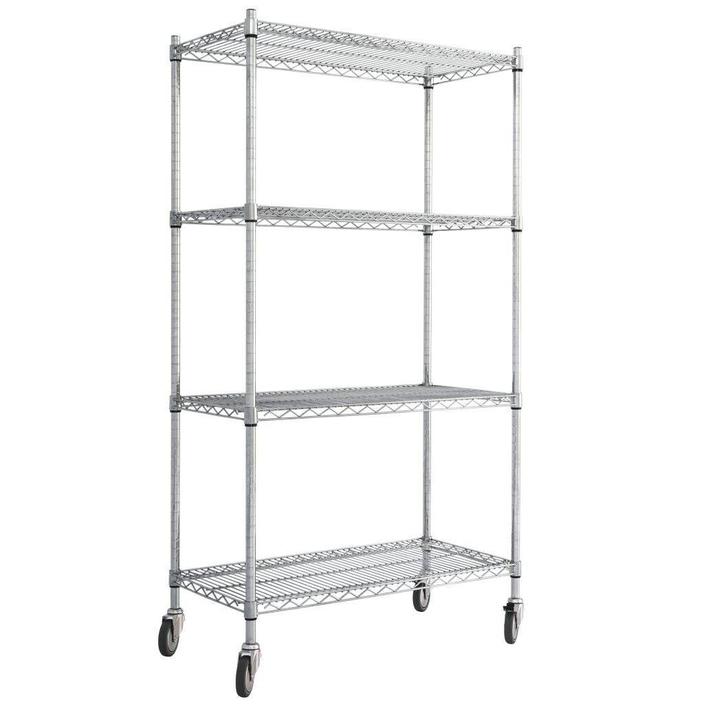 Chrome Wire Shelving Unit with Wheels