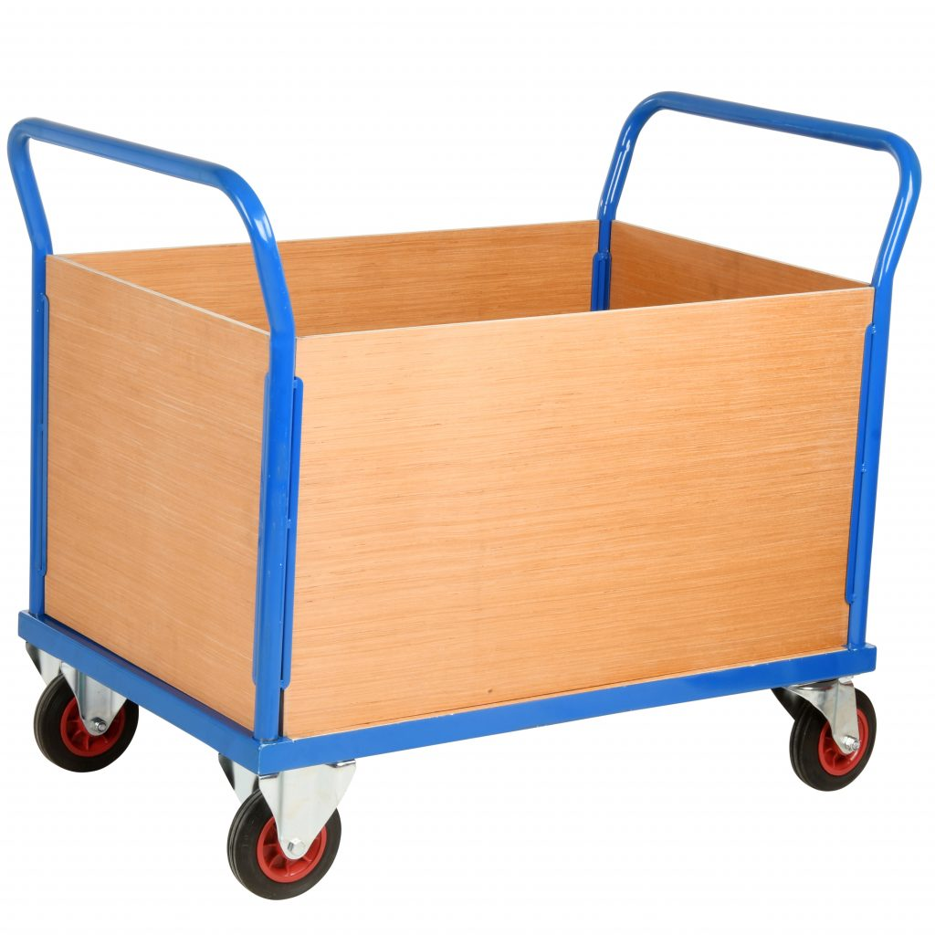 Warehouse Flatbed Trolley with Sides