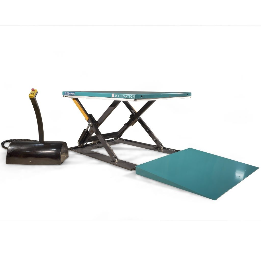 Low Profile Scissor Lift Platform 1000kg with Ramp
