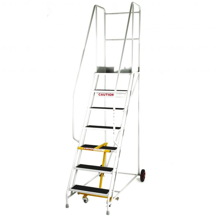 Mobile Warehouse Steps with Handrail - Image