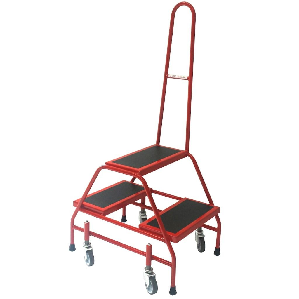 Portable Steps with Wheels & Handrail