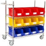 Chrome Wire Picking Trolley with Bins